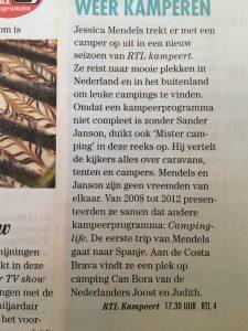 Jessica Mendels in de pers met RTL Kampeert§